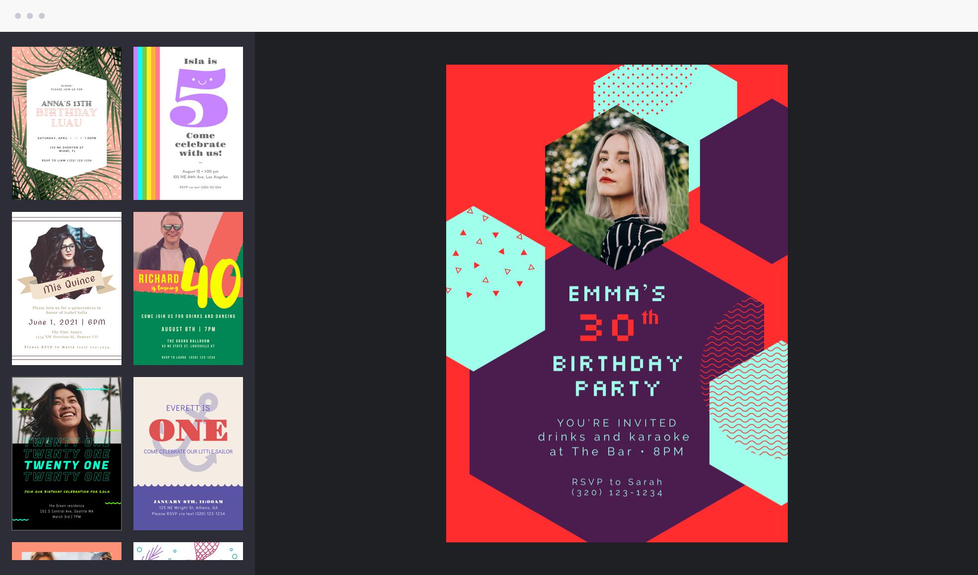 birthday invitation templates by BeFunky Graphic Designer